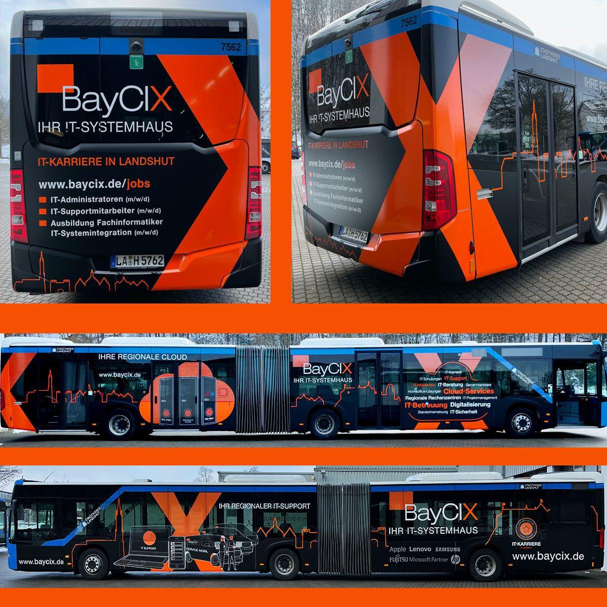 Stadtbus der Stadtwerke Landshut, Fahrzeugwerbung für den Werbepartner BayCIX dem IT-Systemhaus aus Landshut.