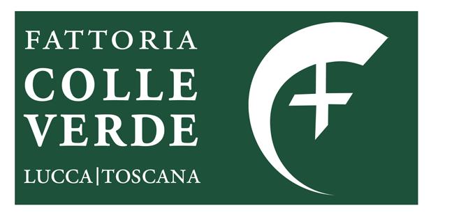 Grüne LogoQuadrate mit Schriftzug COLLE VERDE für die Fattoria in Lucca in der Toskana. Ein Fassbogen mit einem Kreuz ziert das zweite Quadrat.