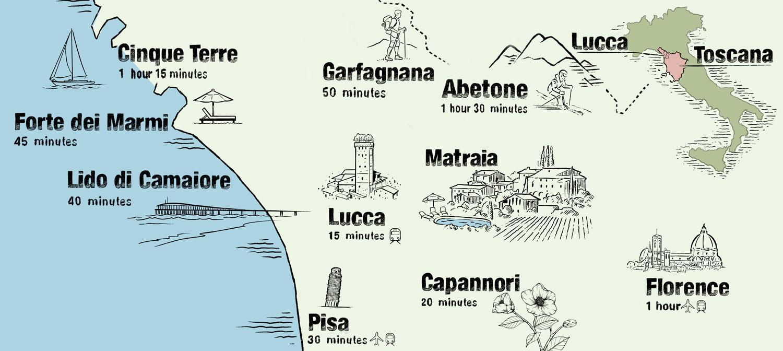 Übersichtskarte Attraktionen in der Umgebung rund um Lucca